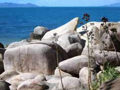The huge granite boulders of Nobby Head block the west end of Picnic Bay on Magnetic Island, North Queensland, Australia. Nobby, Fraser Island, Queensland Australia, West End, Cairns, Bouldering, Brisbane, Granite, Mount Rushmore