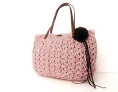 pink  summer bag- Handbag Celebrity Style With Genuine Leather Straps / Handles shoulder bag-crochet bag-hand made. $60.00, via Etsy.