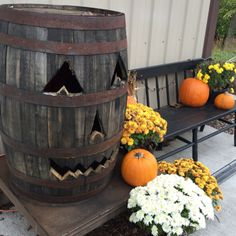 Another awesome idea for fall!! Look what you can do with an empty wine barrell