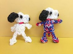 SNOOPY Rainbow Loom characters.  Now on YouTube! charms Figures. Gomas.  Charms. Please Subscribe ❤️❤ m.youtube.com/user/LoomingWithCheryl