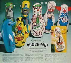 Vintage 1966 I had the Bozo one :) Childhood Toys, Childhood Memories, School Memories, Bozo The Clown, Creepy Clown, Nostalgia, Fraggle Rock, Punching Bag, 80s Kids