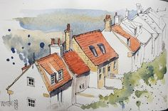 another working sketch accidentally dleleted and re-uploaded. This is a row of cottages below the Abbey in Whitby Watercolor Painting Techniques, Painting & Drawing, Watercolor Paintings, Watercolor Architecture, Architecture Art, Classical Architecture, Pen And Watercolor, Watercolor Landscape, Whitby Cottages