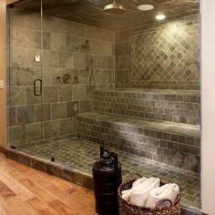 Shower with dark ceramic tile