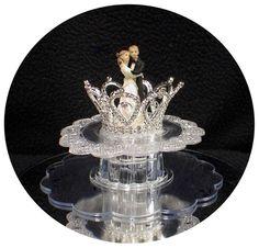 Princess Crown Wedding Cake Topper Fairytale  rhinestone crystal bride groom