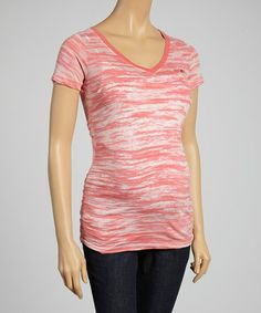 Another great find on #zulily! Coral Variegated Ruched Maternity V-Neck Tee - Women #zulilyfinds