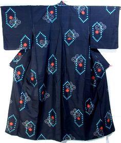 Charming Kasuri Pattern Black Meisen Kimono