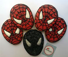 Spider Man Cookies Cookieria By Margaret, biscoito decorado, bolacha decorada