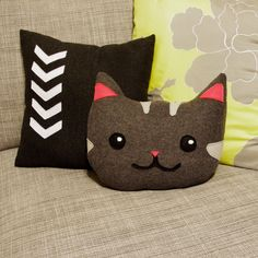 kitty cat decorative pillow in gray and pink by regansbrain