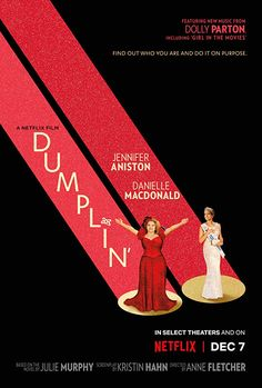 """Jennifer Aniston and Danielle Macdonald tackle mother/daughter issues inside the beauty pageant world in the congenial Netflix film """"Dumplin'"""" Bex Taylor Klaus, Luke Benward, Dolly Parton, Jennifer Aniston, Annie Clark, Tv Series Online, Movies Online, 2018 Movies, Rent Movies"""
