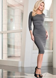 Long sleeve ruched dress available in dark grey or olive. Sizes 2 - 14. Peep toe ankle strap heels available in full and half sizes 6 - 9, 10.