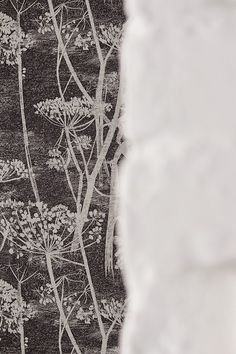 Black and white hallway // Cole & Son Cow Parsley wallpaper