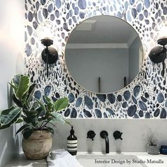 Modern Home Decor Blooms Wallpaper in Navy Rebecca Atwood Designs.Modern Home Decor Blooms Wallpaper in Navy Rebecca Atwood Designs Look Wallpaper, Powder Room Wallpaper, Navy Wallpaper, Small Bathroom Wallpaper, Modern Wallpaper, Wallpaper Ideas, Interior Wallpaper, Kitchen Wallpaper, Wallpaper Designs