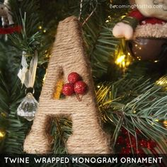 These twine wrapped monogram ornaments make great gifts, and also look cute as a gift tag and/or topper.