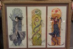 Cross Stitch Trio  This is the Fairy Queen, The Earth Goddess, and The Dark Sorceress. The patterns are from the book Magical Cross Stitch and are designed by Claire Crompton.