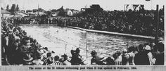Opening day of the St Albans Swimming Pool. Feb 1934. Christchurch, New Zealand.