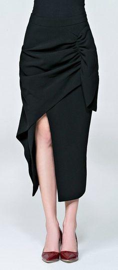 Black Split Front Skirt