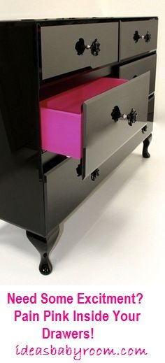 Funky Dresser Idea For Your Baby's Room. Hot Pink Painted Drawers #dresser #babyroom #pin