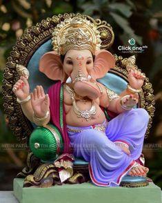 Shri Ganesh Images, Ganesh Chaturthi Images, Ganesha Pictures, Ganesh Idol, Ganesha Art, Clay Ganesha, Ganesh Lord, Sri Ganesh, Lord Ganesha Paintings
