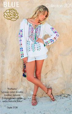 RAFFAELA embroidered cotton tunic Blue Hippy Summer 2015 Collection #boho #gypset #hippy #blue #southoffrance #handprinting #bohemian #vintage #bohochic #bohostyle #boholiving #bohemianstyle #gypsy #hippie #travel #beach #french #france #wanderlust