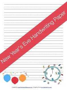 Free Printable - New Year's Eve Handwriting Paper