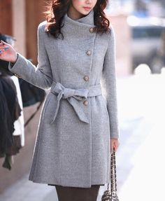 Women's Elegant Wool Coat Long Trench Coat Wool Jacket Autumn Winter Coat Woolen Outerwear-WH169 M,L,XL