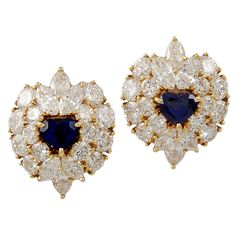 VAN CLEEF & ARPELS Heart Shape Diamond & Sapphire Earrings | From a unique collection of vintage clip-on earrings at http://www.1stdibs.com/jewelry/earrings/clip-on-earrings/