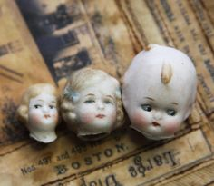 Vintage DOLL HEADS from Germany Frozen by VintageSupplyCo on Etsy