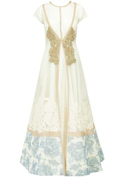 Textured cream anarkali with printed border jacket available only at Pernia's Pop-Up Shop.