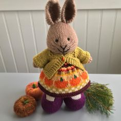 from meand this festive little fall bunny who is on her way to a new home! Knitted Stuffed Animals, Crochet Animals, Dinosaur Stuffed Animal, Crochet Hats, Funny Animal Pictures, Funny Animals, Pet Clothes, Animal Clothes, Little Cotton Rabbits