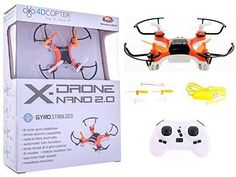 4DCopter Fly it  Love it! - X-Drone Nano 2.0 Aerial Drone Quadcopter Radio Controlled RC Flyer Quad Copter Helicopter - Size: Nano (2in x 2in x1in) Orange