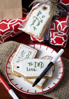 Erica's Sweet Tooth » Gingerbread Gift Tag Cookies decorated with royal icing and edible markers
