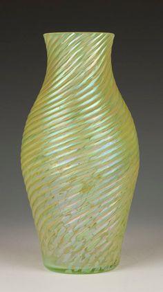 ca. 1900 Kralik Bohemian Ribbed-Twisted Iridescent Vaseline Vase