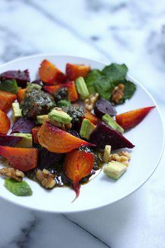 Baby Beet & Avocado Salad with Walnut-Mint Pesto