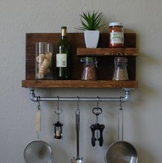 Industrial Rustic Modern 2 Tier Floating Shelf Spice by KeoDecor, $110.00