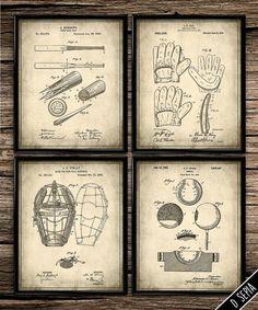 Patent Baseball Set  Vintage Prints  Patent by UniquelyGiftedArt