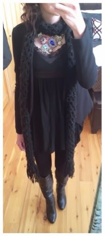 Winter work outfit - all black outfit with leggings, boots, blazer, scarf, and a sparkly JCrew bouquet necklace