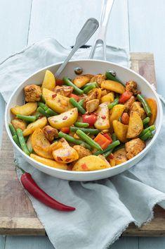 Makkelijke aardappel roerbak met pittige kip - Leuke recepten #sp