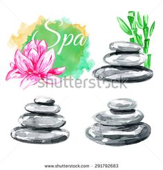 Set of elements spa. Natural stones. Lotus. Zen pebbles. Vector watercolor background.
