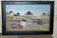Amish Farm and Covered Bridge painted on Door