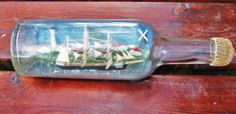 Bateau bouteille diorama 3 mats