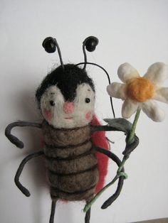 Christmas ornament?  //  Needle Felted Lady Bug ornament by maria pahls