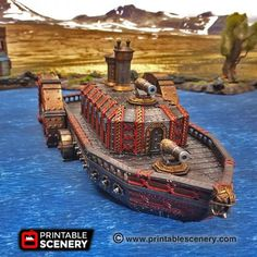 dnd Steam Ironclad Dwarf Ship Dungeons and Dragons Steampunk Boat Tabletop Scatter Terrain RPG Warhammer D&D Game Play Dungeons And Dragons, Warhammer 40k Tabletop, Warhammer Terrain, Steam Turbine, Prusa I3, Steampunk, 28mm Miniatures, Pathfinder Rpg, Wargaming Terrain