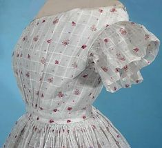 c. 1830's/1840's White Printed Muslin Summer Gown for Young Woman