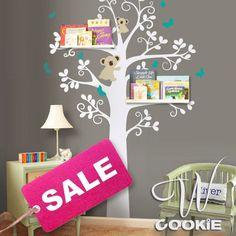 Wall Decal Tree with Koalas and Butterflies   Nursery by wcookie