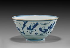 """I. M. Chait Gallery : Lot 186 17th CENTURY BLUE & WHITE BOWL 青花嬰戲紋碗 Charming 17th Century, Chinese Shunzhi Period, blue and white porcelain footed bowl; the high walled tapered form with design of two children and fireworks to the interior, the exterior with additional children at play all around; D: 8""""; Of note: similar examples in the collections of the Tokyo National Museum and Shanghai Museum Estimate $3,500-4,000"""