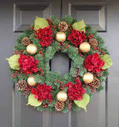 Christmas Wreath- Christmas Door Decor- Winter Wreath- Hydrangea Wreath. $85.00, via Etsy.