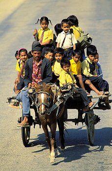 Overloaded - Children returning from school, Nepal