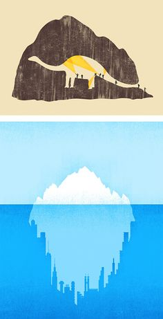 "Negative Space Illustrations by Tang Yau Hoong. LOVE it!! Reminds me of the ""hat"" in The Little Prince. :)"