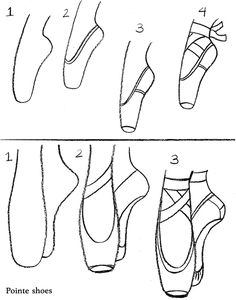 How To Draw Ballerina Shoes.
