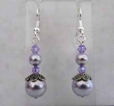 Lavender Pearl with Violet Bicone Earrings by MoYuenCreations, $12.00